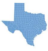 Devlet texas tarafından ilçeler haritası — Stok Vektör