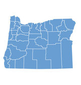 State map of Oregon by counties — Stock Vector