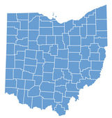 State map of Ohio by counties — Stock Vector