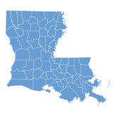 State map of Louisiana by counties — Stock Vector