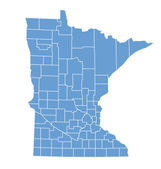 State map of Minnesota by counties — Stock Vector