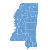 State map of Mississippi by counties — Stock Vector