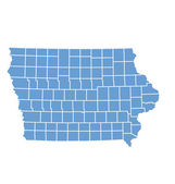 State Map Of Iowa By Counties — Wektor stockowy