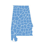 State Map of Alabama by counties — Stock Vector