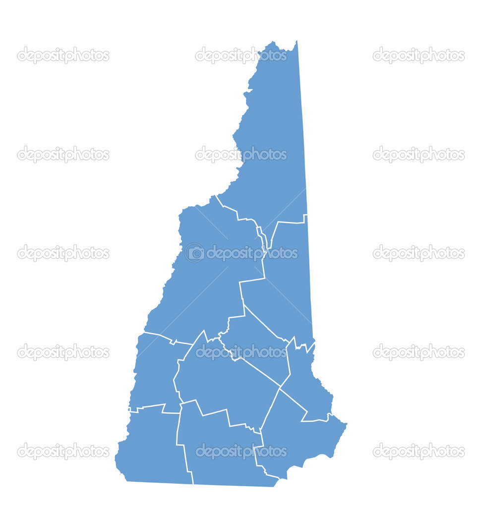 State Map Of New Hampshire By Counties Stock Vector
