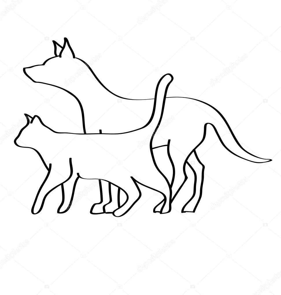 Logotipo de silhueta de gato cu00e3o u2014 Vetor de Stock ...