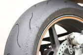 Rear wheel of a motorcycle — Stock Photo