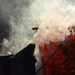 Smoke on the apiary — Stock Photo