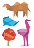 красочные оригами модели — Cтоковый вектор