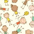 Hand-drawn children seamless pattern — Imagen vectorial