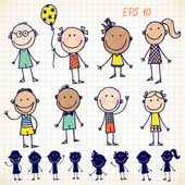 Ensemble enfants dessinés à la main — Vecteur