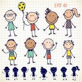 Sistema de los niños dibujados a mano — Vector de stock