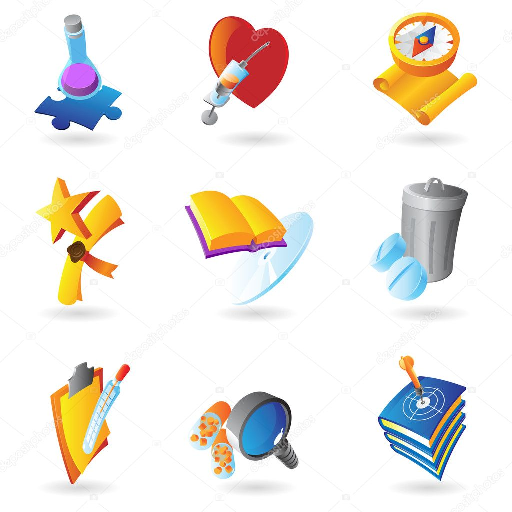 Icons for science, education and medicine. Vector illustration. — Stock Vector #10882017