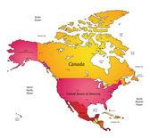 Mapa de américa del norte — Vector de stock
