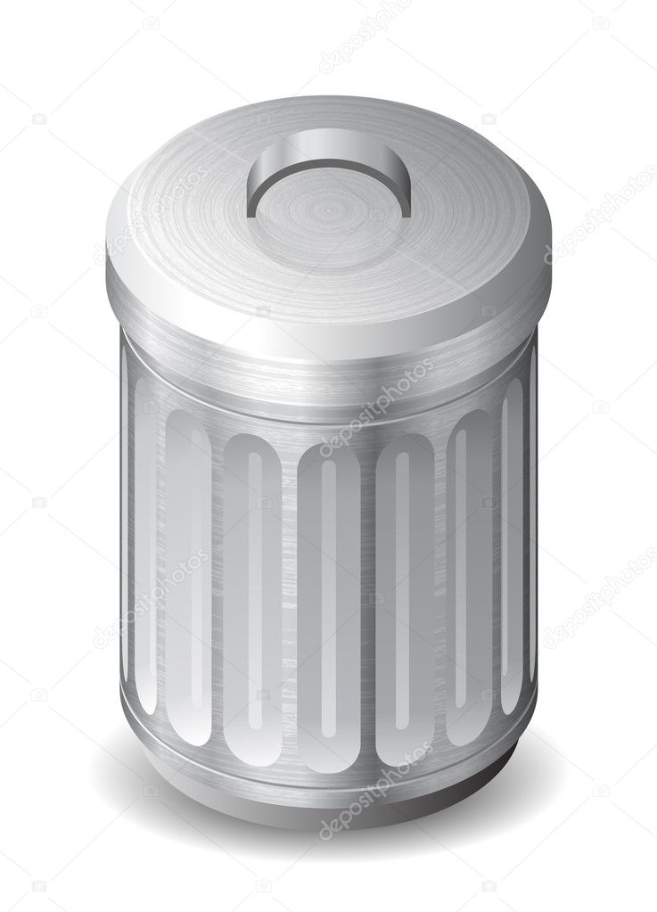 Icon for garbage can. White background. Vector saved as eps-10, file contains objects with transparency.  Stock Vector #11306546