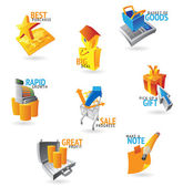 Icons for commerce and retail — Stock Vector