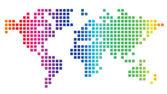 Carte du monde en pointillé — Vecteur