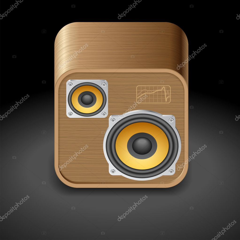 Icon for speakers. Dark background. Vector saved as eps-10, file contains objects with transparency. — Stock Vector #11429440