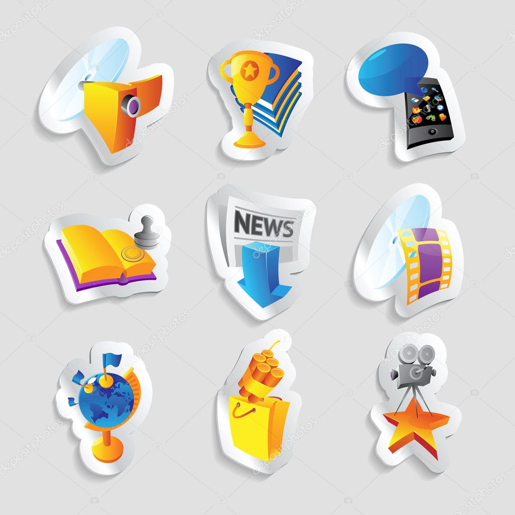 Icons for media and entertainment. Vector illustration.  Stock Vector #11429466