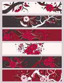 Red flowers banner set — Stock Vector