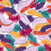 Colorful feathers seamless — Stock Vector
