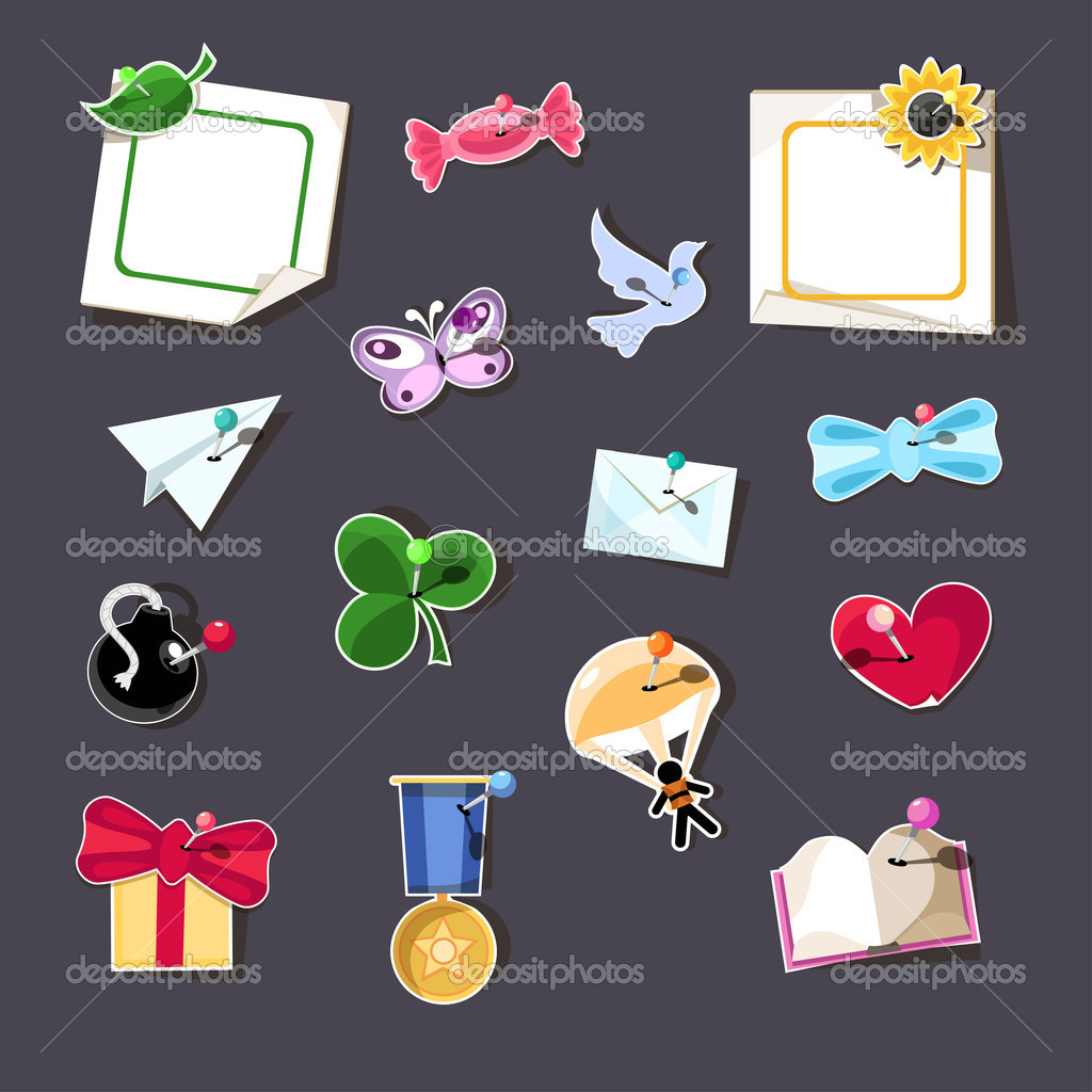 Set of 15 design elements with pins. — Stock Vector #11536601