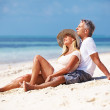 Couple enjoying sunny day at beach - Stock Photo