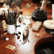 Closeup of goldsmith's workbench - Stok fotoğraf