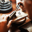 Closeup of goldsmith working - Foto Stock