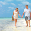 Happy mature couple walking on the beach holding hands - Stock Photo