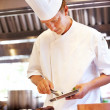 Chef working in the restaurant kitchen - Stock Photo