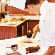 Chef cooking meat - Foto Stock