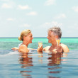 Lovely mature couple having a glass of champagne in swimming pool by the ocean - Stock Photo
