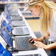 Arrtractive woman in store looking at laptop - Stock Photo