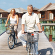Royalty-Free Stock Photo: Happy senior couple cycling at beach resort