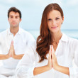 Meditation in unison - Stock Photo