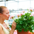 Savouring the smell of spring - Stock Photo