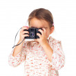 Little girl playing as photographer isolated on white - Stock Photo