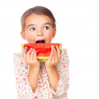 Royalty-Free Stock Photo: Sweet little girl eating a slice of watermelon