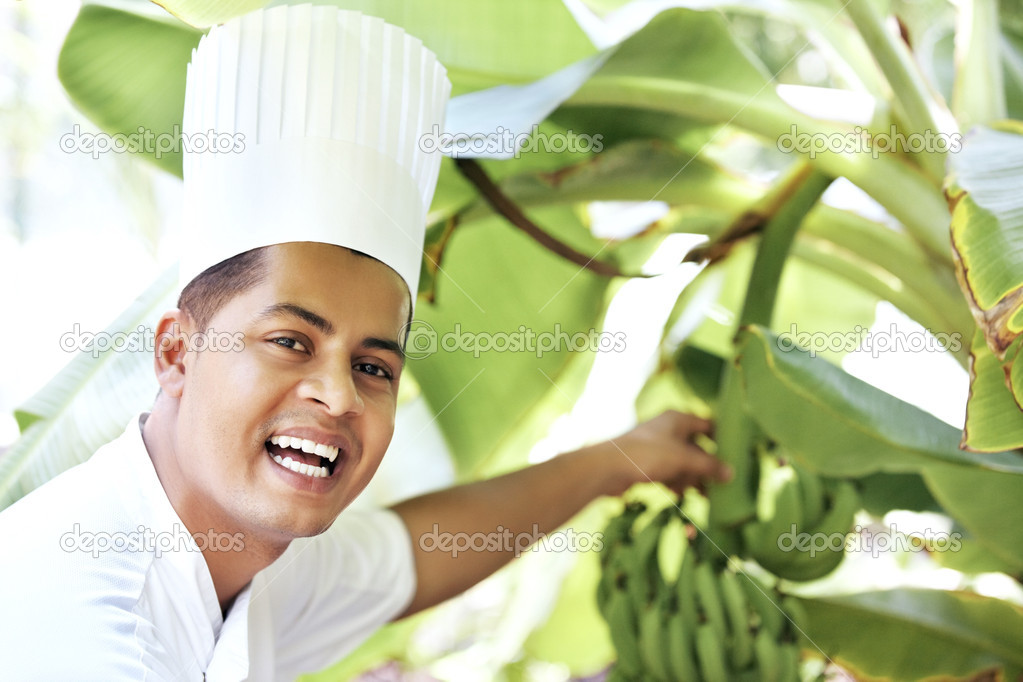 Portrait of happy young chef in garden with bunch of plantain bananas from tree — Stock Photo #12152315