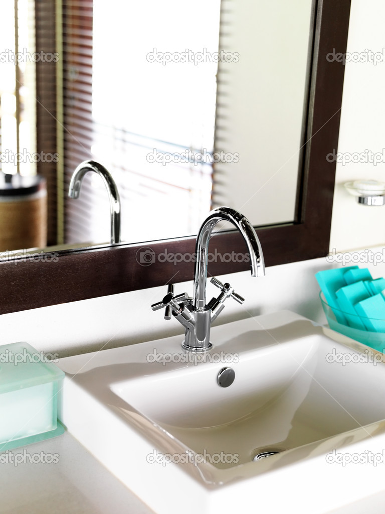 Image of luxurious bathroom sink of the hotel room — Stock Photo #12152453