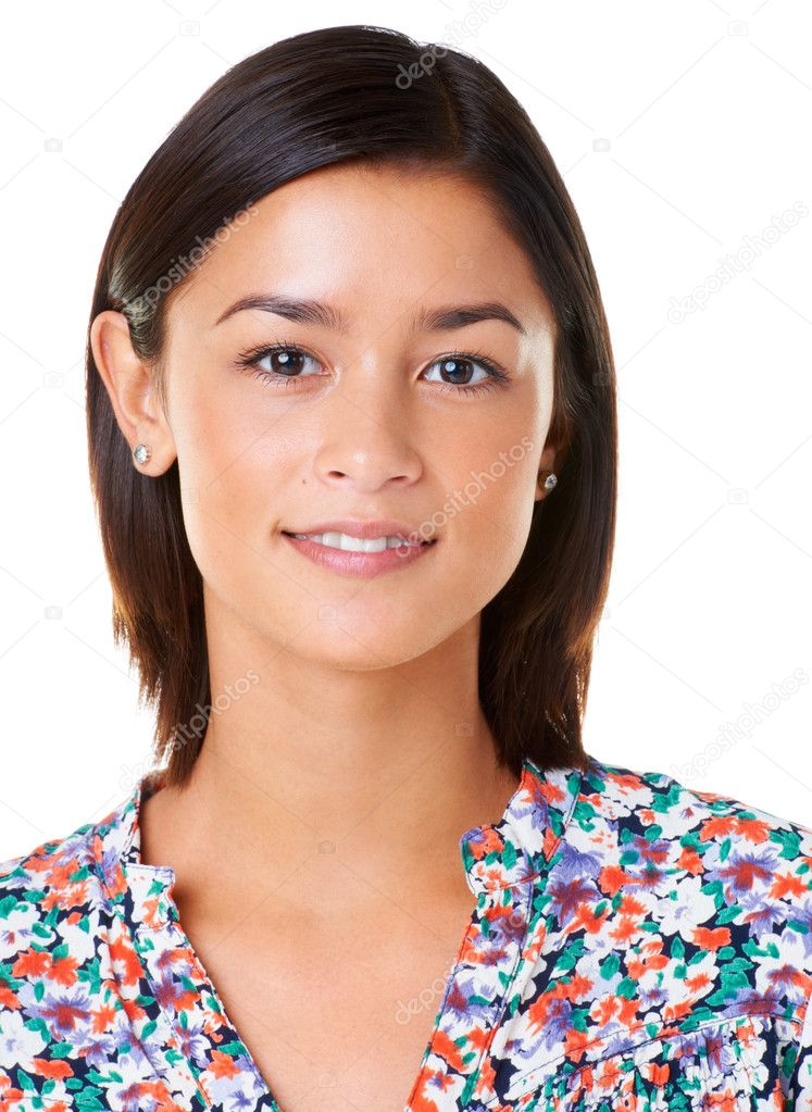 Closeup of a pretty young asian woman smiling at you while isolated on white background — Stock Photo #12153186