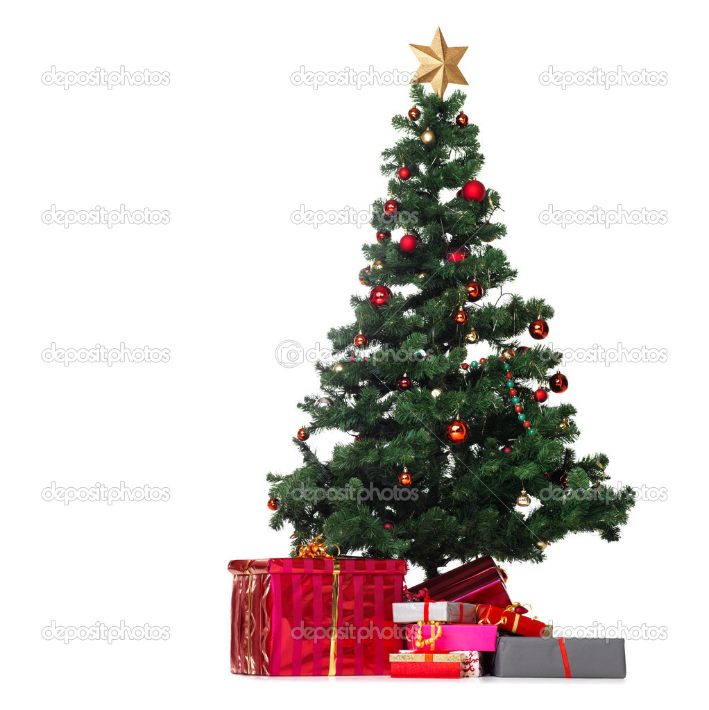 Christmas tree with gifts around it over white background — Stock Photo #12154935
