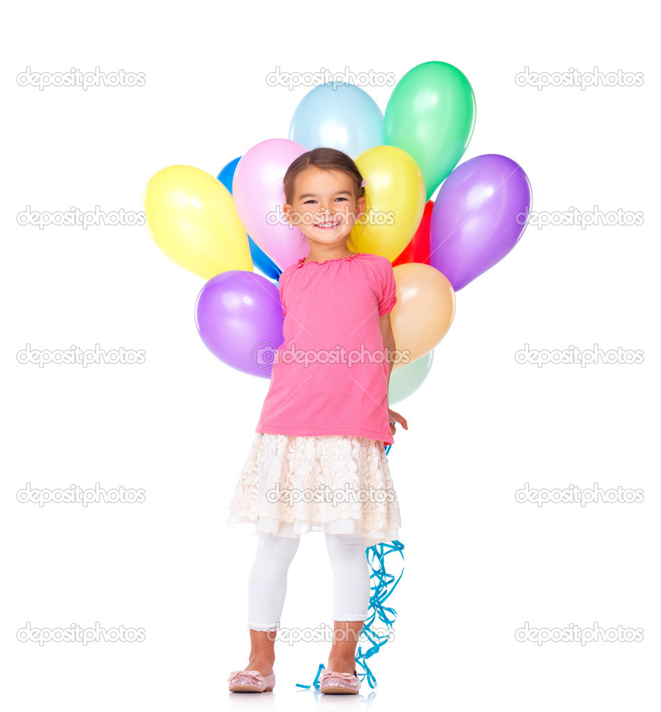 Cute little girl holding colorful balloons on white background  Stock Photo #12154957