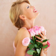 Beautiful flowers for a beautiful girl - Stock Photo