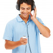 Listening to his favourite soundtrack - Foto Stock