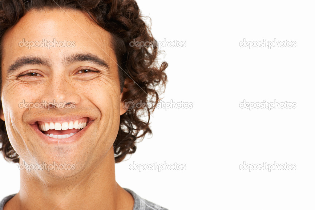 Closeup portrait of a young man with copyspace next to him — Stock Photo #12238797