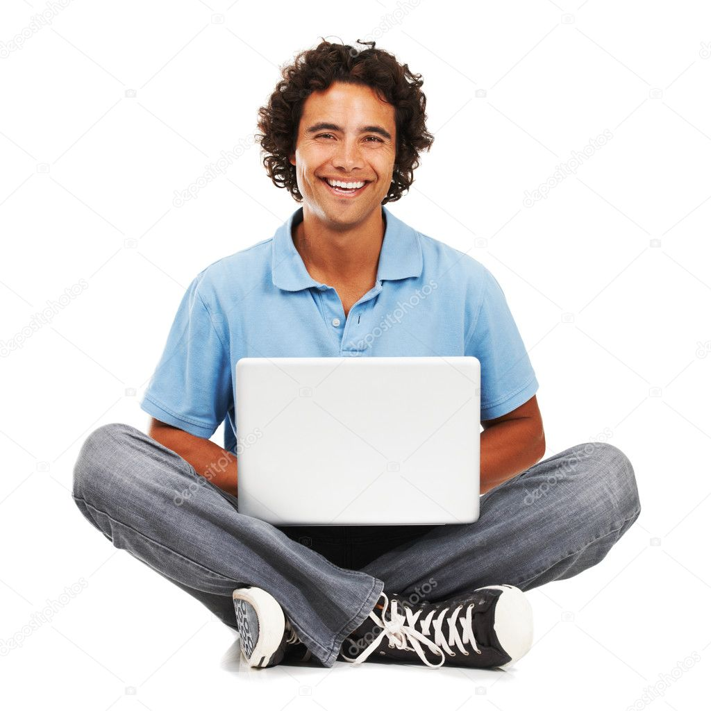 Portrait of a young man with his laptop on his lap — Stock Photo #12239476