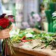 Royalty-Free Stock Photo: Practising the art of flower arranging