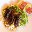 Fried cockroaches served on rice with a salad - Stok fotoraf
